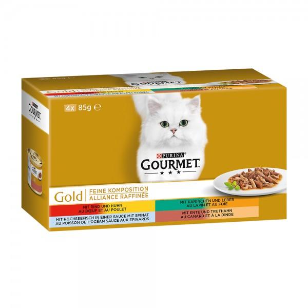 Gourmet Gold Feine Komposition 4er MP(Rind&Huhn,Ente&Truth,Kaninchen&Leber,Fisch&Spinat)