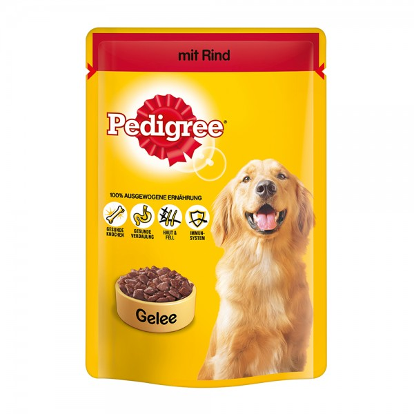 Pedigree mit Rind in Gelee