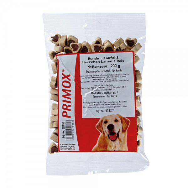 Primox Hundekonfekt Herzchen Lamm + Reis