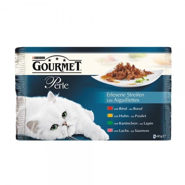Gourmet Perle 4er MP mit Rind, Kaninchen, Lachs und Huhn