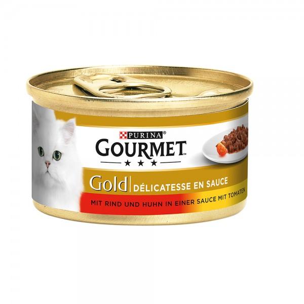 Gourmet Gold Délicatesse en Sauce mit Rind & Huhn in Tomatensauce