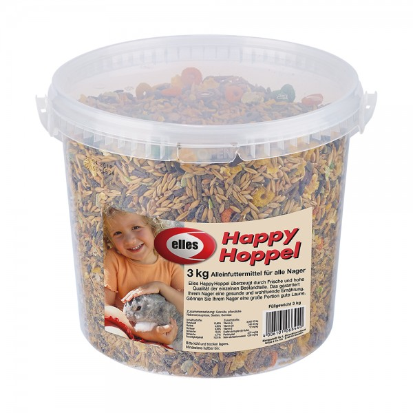 elles Happy Hoppel Futter im 3 kg Eimer Display