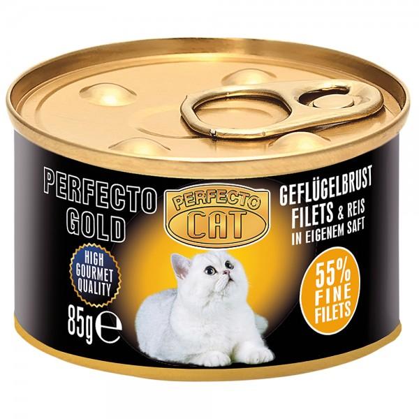 Perfecto Cat Geflügelbrustfilets & Reis im Eigensaft